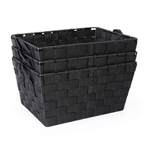 EHC Set of 3 Woven Strap Shelf Storage Hamper Basket With Carry Handles - Black