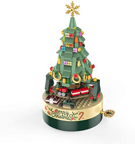 AOKESI Christmas Tree Building Kits for Kids - DIY Building Block Music Box, Educational Learning Science Building for 5 6 7 8+ Year Old Kids Boys Girls