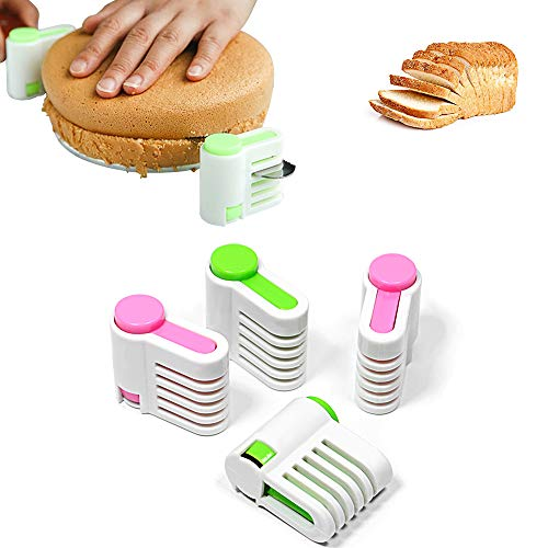 Mary Paxton 2 Set 5 Layers DIY Cake Bread Cutter Leveler Slicer,Adjustable Cutting Fixator Guide Tools DIY Cake Decorating Tools For Kitchen Bakeware Pastry Kitchen Accessories Durable