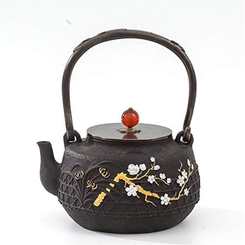 M-CH Tetera Teteras de Hierro té Caldera 1.2L Tallado Mano de ebullición del té del Agua Conjunto de Cobre Cubierta de Hierro Fundido del Cilindro sin Recubrimiento Tetera