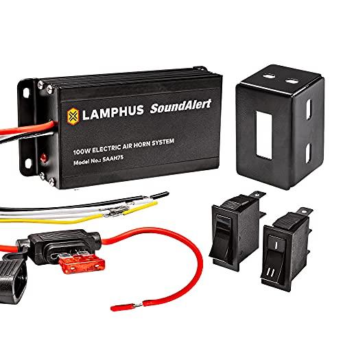 SoundAlert 12V 100W Electric Police Air horn Amplifier [Hands-Free] Train Truck Police Siren Horn for Vehicles Truck UTV ATV Car POV