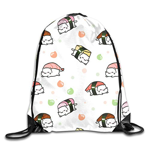 Cat Japanese Best Sushi White Roller Cute Patterned Themed Printed Drawstring Bundle Book School Shopping Travel Back Bags Draw String Gym Backpack Bulk Girl Boy Women Men