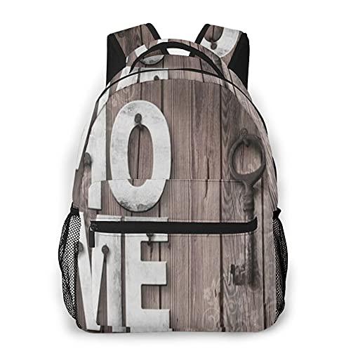 COVASA Casual Style Schulrucksack Travel Bookbag,Holzbuchstaben Home Deco Key Boards,Leichter großer Schüler-Kind-Erwachsenen-Rucksack für 15,6 'Laptop