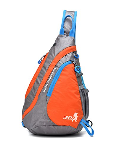 Umhängetasche Schultertasche, wasserabweisend und reißfest Brusttasche, Sling Bag 15L für Herren Frauen Kinder,orange