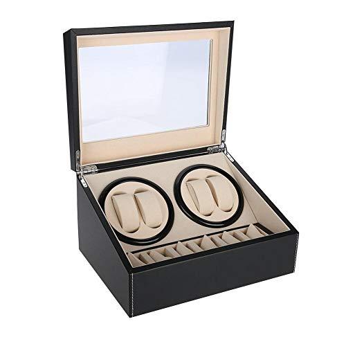 Boîtier D'enroulement de Montre à Rotation Automatique, Boîtier de Rangement pour Horloge de Rangement et Montre, Motif et Doublure en Velours Doux Intérieur Anti-rayures, 4 + 6 Grids(noir)
