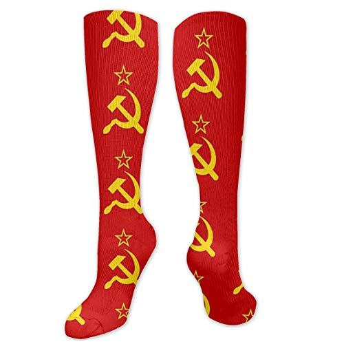 Anna Angel Ussr Hammer And Sickle Cccp Retro Russian Soviet Flag Socks Compression Socks Knee High Long Stockings 19.7 Inch(50cm)For Women & Men Sports And Daily Wear