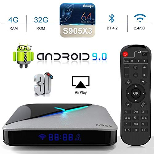 A95X F3 Air Android 9.0 TV Box [4GB RAM 32GB ROM] Amlogic S905X3 Quad-Core Cortex-A55 2.4G/5G Dual WiFi H.265 Decode BT 4.2 USB 3.0 Smart TV Box