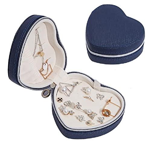 SHAOKAO Caja de joyería portátil en forma de corazón organizador de viaje caja de joyería de corazón PU cuero mujeres niñas viaje joyas caso joyería almacenamiento colgante