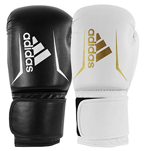adidas Unisex Speed 50 Gym Fitness Training Workout Sparring Kickboxen Handschuhe Herren Damen Kinder, Unisex, Boxhandschuhe, ADISBG50, Weiß / Gold, 283,5 g (10 oz)