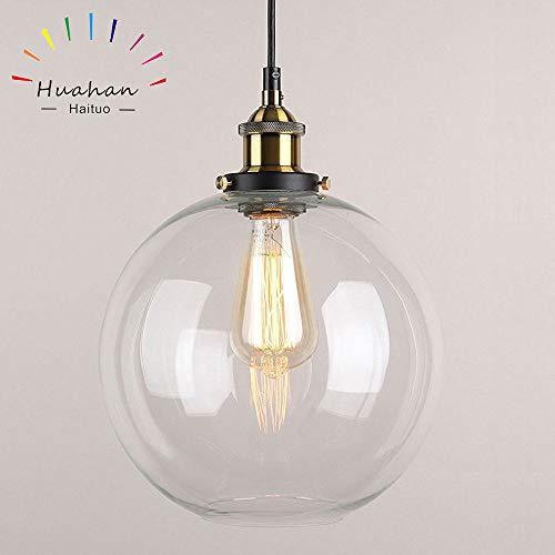 Huahan Haituo Pendelleuchte Light Vintage industriellen Metall-Finish Klarglas Glaskugel Runde Schatten Loft Pendelleuchte Lampe Retro Decke Licht Vintage Lamp