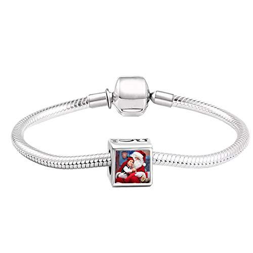 Pulsera de foto personalizada Pulsera personalizada Pulsera de plata Pulsera de moda Navidad para mujer(Plata a todo color 7.5IN=19cm )