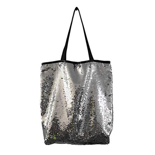 TENDYCOCO bolso de hombro con lentejuelas brillantes para mujer moda bolso de compras de lentejuelas sirena reversible brillante de gran capacidad - plata