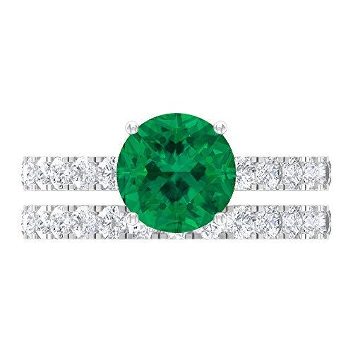Rosec Jewels 14 quilates oro blanco redonda Round Brilliant Green Moissanite Turmalina Verde