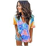 HebeTop Womens Tops Colorblock Gradient Tie Dye Shirts Short Sleeve Choker V Neck T-Shirt Summer Casual Blouse Orange