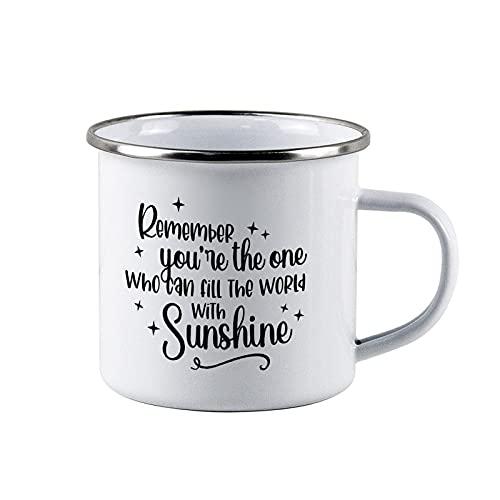 Blancanieves, princesa, llena el mundo con sol, taza esmaltada princesa, taza de camping, reutilizable y portátil, para papá, padre, papá, camping al aire libre, taza de té personalizada
