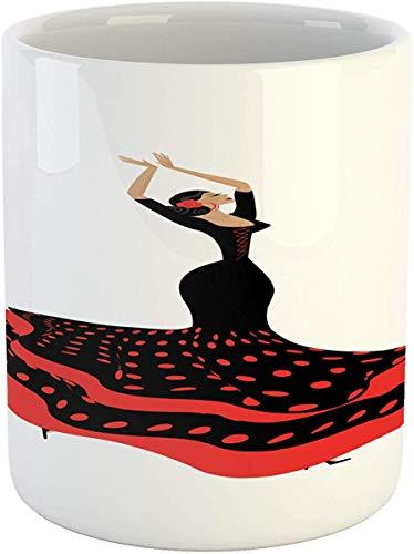 Koffie Mok 11 oz Thee Beker, Spaanse Mok, Sexy Spaanse Flamenco Lady in Folkloric Polka Dot Jurk Spaanstalige Gypsy Cultuur, Gedrukt Keramische Koffie Mok Water Thee Drankjes Beker, Vermilion Zwart
