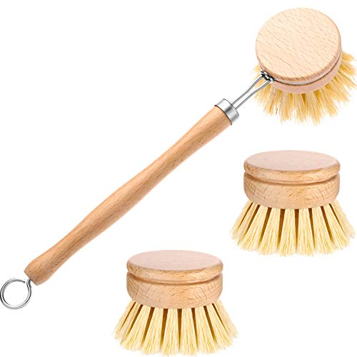 Classic Dish Washing Brush Natural Scrub Brush with 2 Pieces Beechwood Replacement Brush Heads Replacement Brush Refill for Kitchen Room Cleaning Supplies