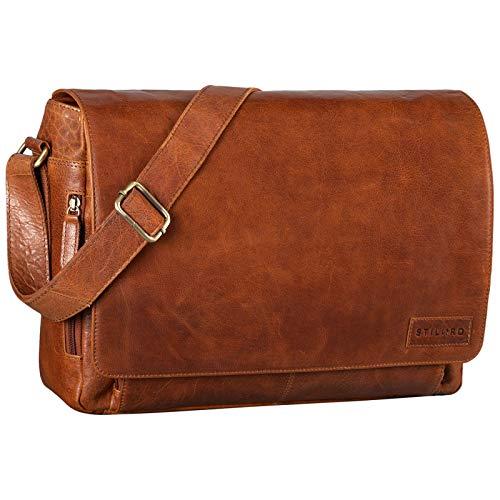 STILORD 'Rick' Bolso de Mensajero o Bandolera de Piel Vintage Bolsa de portátil de 15.6' para Universidad Negocios o Profesor Maletín marrón de auténtico Cuero, Color:maraska - marrón