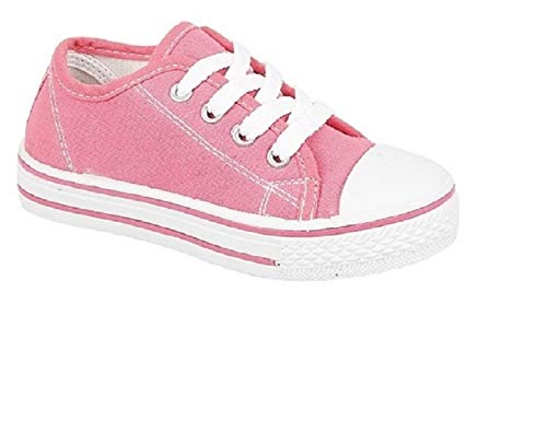 Inspire Me Children's Boys' Girls' Canvas Casual Shoes Pumps Trainers Unisex Sport Shoes Lace Up Fastening Synthetic Material for Everyday Use (Pink, Numeric_3)