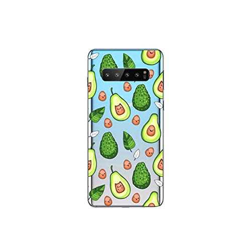 Samsung Galaxy S10 Case,Blingy's New Fun Fruits Style Transparent Clear Soft TPU Protective Rubber Case for Samsung Galaxy S10 (Happy Avocados)