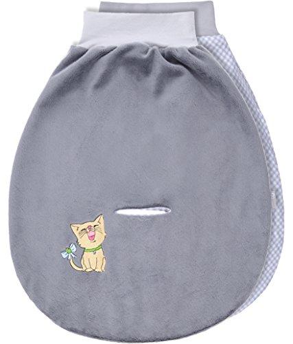 Be Mammy Baby Pucksack Strampelsack Schlafsack Autositz aus Baumwolle mit breitem Bund BE20-137 (Grau/2094_03 - Katze)
