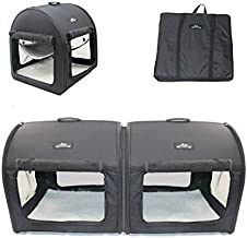 Pet Limousine Soft Dog Cat Crate The Portable 2-in-1 Double Travel Kennel Tube Carrier for All Pets Car Seat Ready