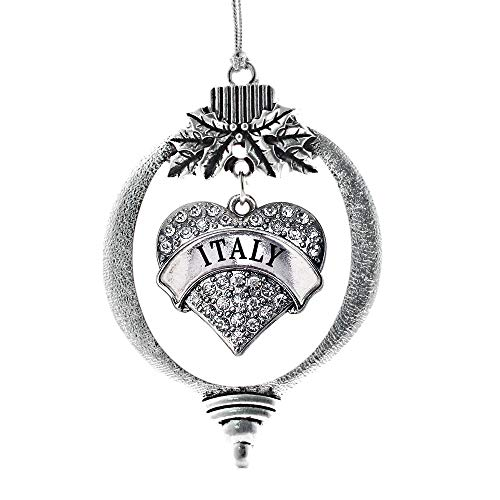 Inspired Silver - Italy Charm Ornament - Silver Pave Heart Charm Holiday Ornaments with Cubic Zirconia Jewelry
