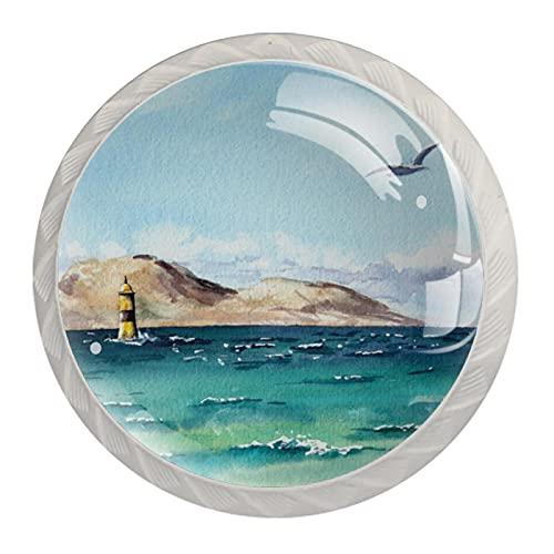 Wetia 4 Pezzi di cassettiera in Cristallo cassettiera pomello del cassetto della Cucina Domestica Armadio Armadio Bianco con Vite Mare di Gabbiano 3,5 x 2,8 cm
