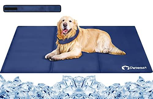 Peteast, Tappetino rinfrescante e sciarpa per cani, 90 x 60 cm, taglia XL, con strato in gel da 1,5 cm, tessuto spesso 600D, anti-graffio, per mantenere i vostri animali freschi in estate