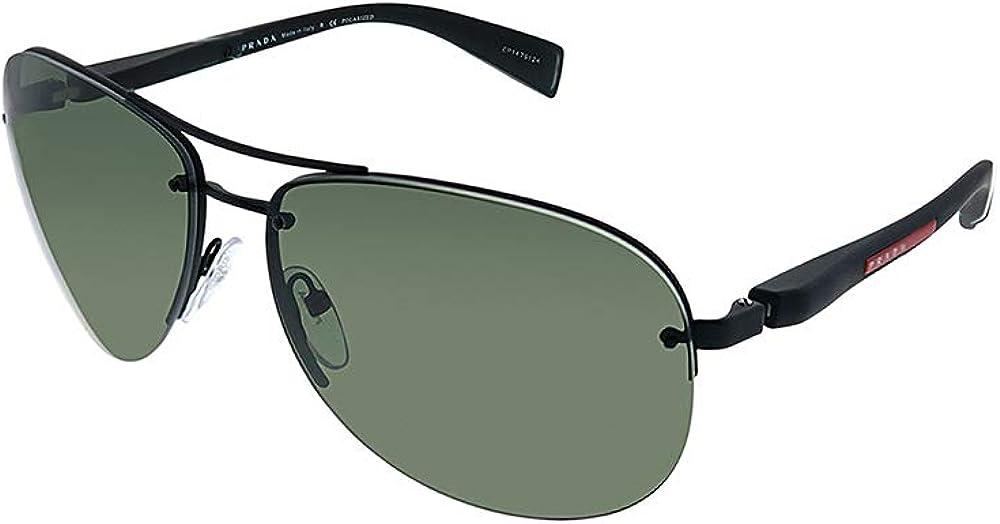 Prada Linea Rossa PS 56MS DG05X1 Black Metal Pilot Sunglasses Green Polarized Lens