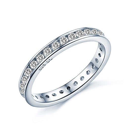 Brilliant Round Cut Eternity Ring - Full AAAAA Cubic Zirconia Crystal Eternity Ring Style - Full Eternity 925 Sterling Silver - Sizes I - T… (O)