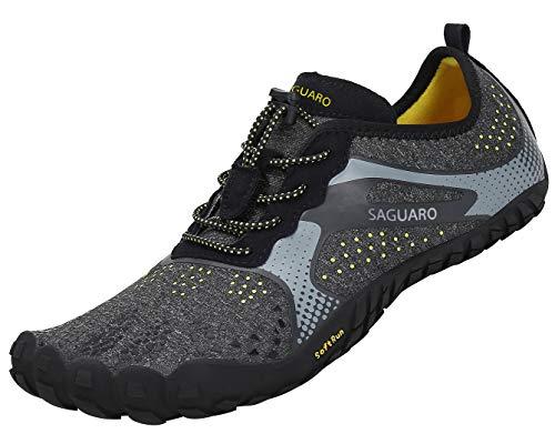 SAGUARO Hombre Mujer Barefoot Zapatillas de Trail Running Minimalistas Zapatillas de Deporte Fitness Gimnasio Caminar Zapatos Descalzos para Correr en Montaña Asfalto Escarpines de Agua, Negro, 43 EU