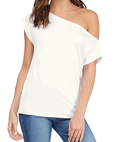 Material -- 95%Rayon / 5%Spandex. Its extremely soft and lightweight that it never wrinkles. It also has a great amount of stretch to it as there's some spandex in this sexy shirt. Short sleeve with one shoulder are PERFECT summer top! A love Long Sl...