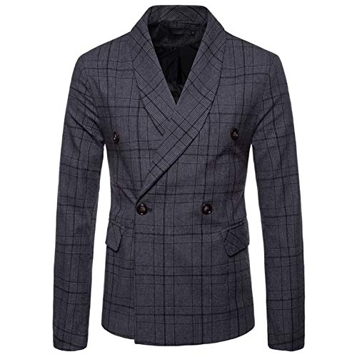 Mr.BaoLong&Miss.GO Autumn and Winter Mens Suit Jacket European Size Suit Large Size Casual Jacket Mens Plaid Double-Breasted Suit Dark Gray