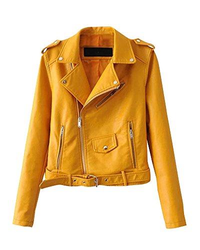 PengGeng Chaquetas para Mujer Otoño Invierno Blazers Chaqueta con Cremallera Casual Cazadoras De Cortos De Cuero PU Amarillo M