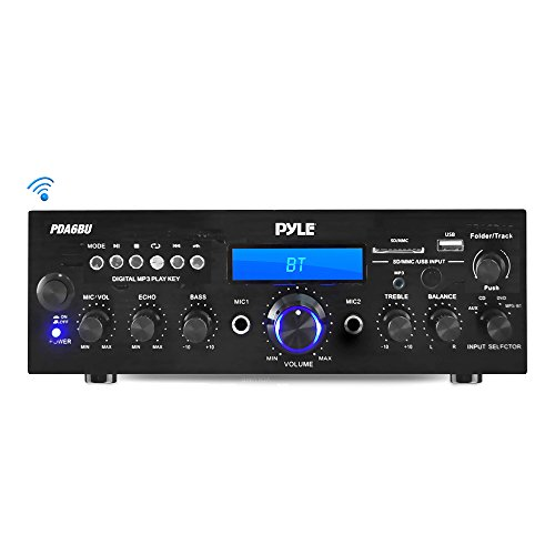 Pyle Bluetooth Stereo Amplifier Receiver [Compact Home Theater Digital Audio System] with Wireless Streaming | FM Radio | MP3/USB/SD Readers | Remote Control | 200 Watt (PDA6BU)
