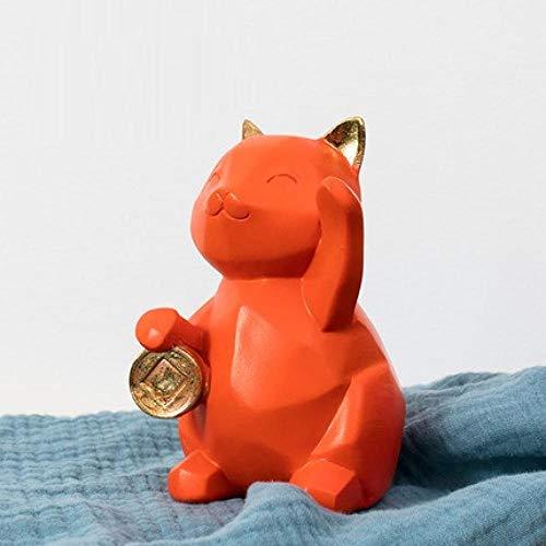 PZAIQ Statues & Sculptures Abstrait Géométrique Chats Figurine Fortune Cat Art Sculpture Résine Décoration De La Maison Accessoires