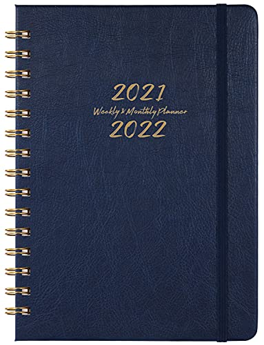 """2021-2022 Planner - Weekly, Monthly and Yearly Planner with Monthly Tabs, 6.3"""" x 8.4"""", July 2021 - June 2022, Thick Paper, Inner Pocket, Blue"""