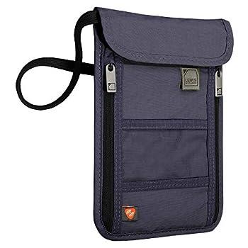 Lewis N Clark RFID Blocking Stash Neck Wallet Travel Pouch + Passport Holder for Women & Men Navy One Size
