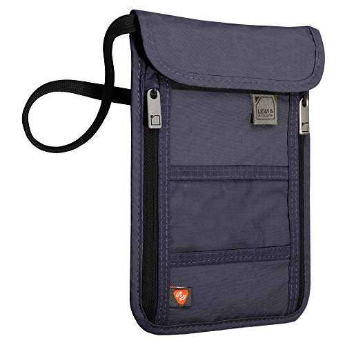 Lewis N. Clark RFID Blocking Stash Neck Wallet, Travel Pouch + Passport Holder for Women & Men, Navy, One Size