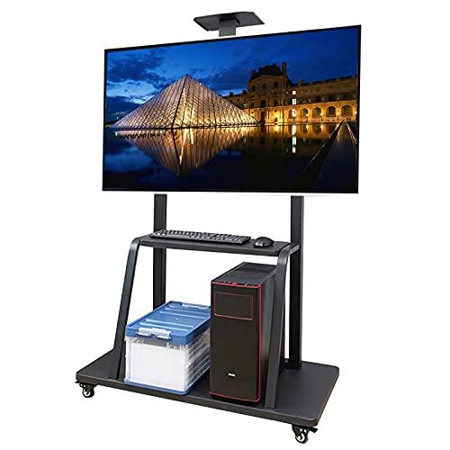 SSZY Soporte TV Trole Soporte para TV con Almacenamiento y Estante para Televisor 43 50 55 60 65 70 75 Pulgadas, Carro de TV Móvil Ajustable Moderno Negro con Ruedas de Bloqueo