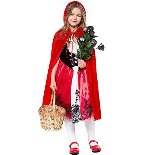 ALXDR Vestido De Caperucita Roja Disfraces De Cosplay para Nias Disfraces De Halloween con Vestido + Capa,S
