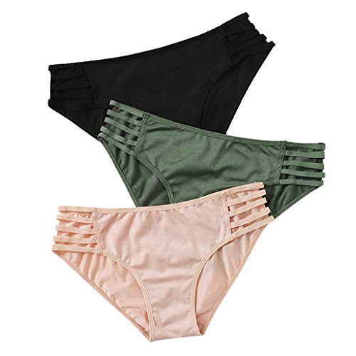 Bragas de bikini para mujer, de moda, con tirantes, de color sólido, para mujer, ropa interior sexy, transpirable, ropa interior de algodón, ropa interior sexy