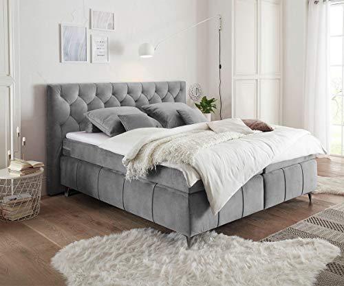 DELIFE Bett Perrie Velour Vintage Grau 180x200 cm mit Matratze und Topper