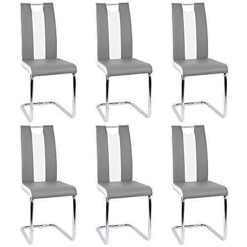Flyelf Freischwinger Stuhl Vegas 6er Set Esszimmerstühle für Küche/Esszimmer/Büro (Grau - Weiß, 6)