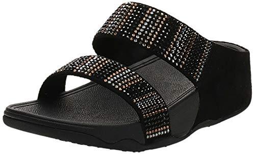 FitFlop Women's Flare Strobe Slide Sandals, Black, 8 M US