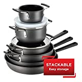 T-fal All-In-One Hard Anodized Dishwasher Safe Nonstick Cookware Set, 12-Piece, Black