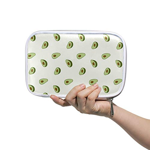 Bardic Pen Pencil Case Avocado Fruit Print Pattern Makeup Brush Bag Travel Organizer Cosmetic Pouch Passport Holder for Men Women