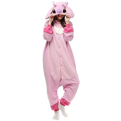 Adults Onesie Halloween Costumes Animals Sleeping Pajamas (S, Pink)