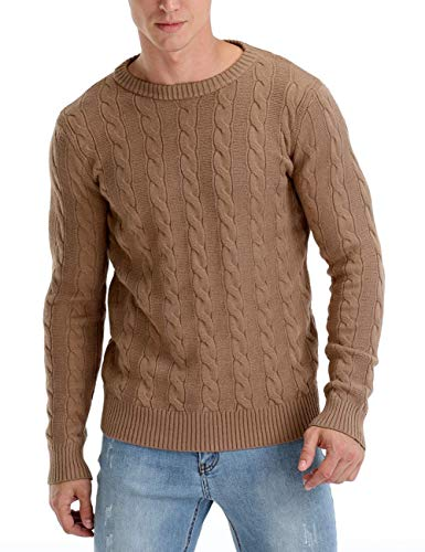 Rocorose Men's Pullover Sweater Crewneck Slim Fit Cable Twisted Knitwear Tunic Brown L